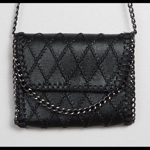 Women's leather quilted crossbody purse